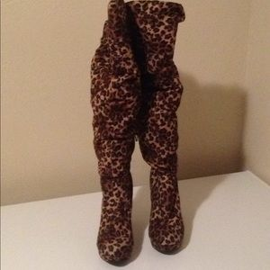 Shoes - Leopard over knee suede like material